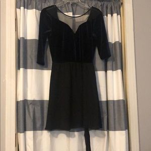Navy velvet and black mini dress w/ mess neck line